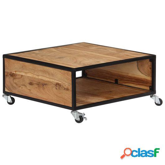 Mesa de centro 70x70x32 madera maciza de acacia