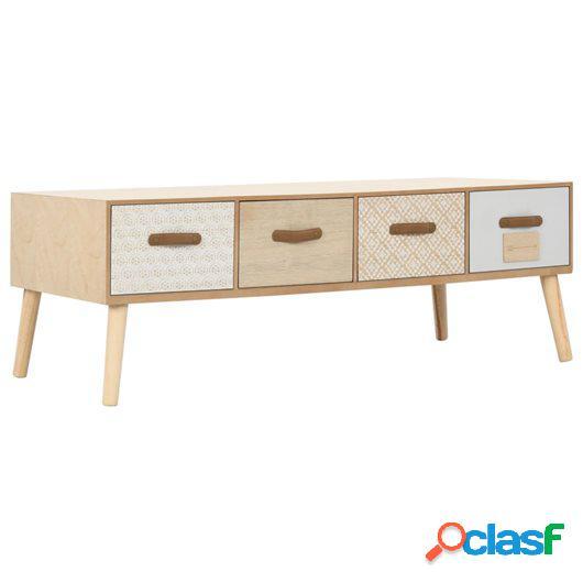 Mesa de centro con 4 cajones madera maciza de pino 110x50x40