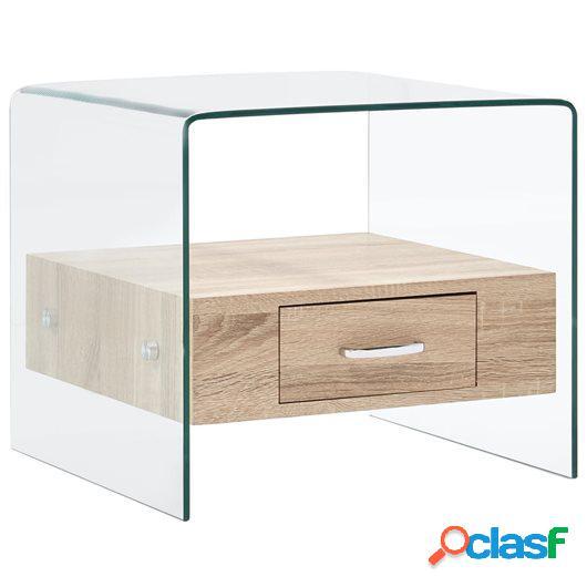Mesa de centro con cajón vidrio templado 50x50x45 cm