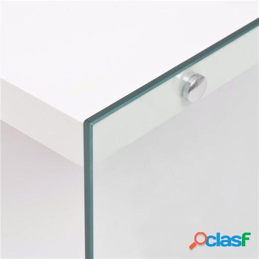 Mesa de centro con estante vidrio y MDF blanco brillante