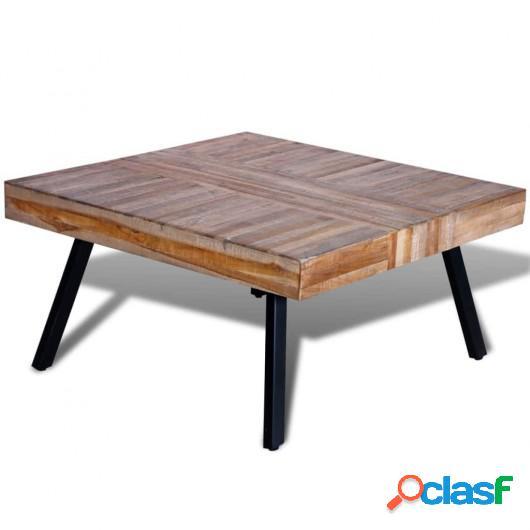 Mesa de centro cuadrada de madera de teca reciclada