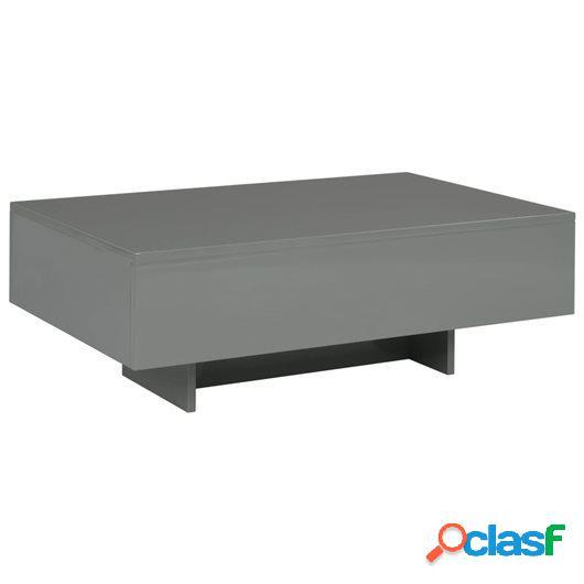 Mesa de centro de MDF gris brillante 85x55x31 cm
