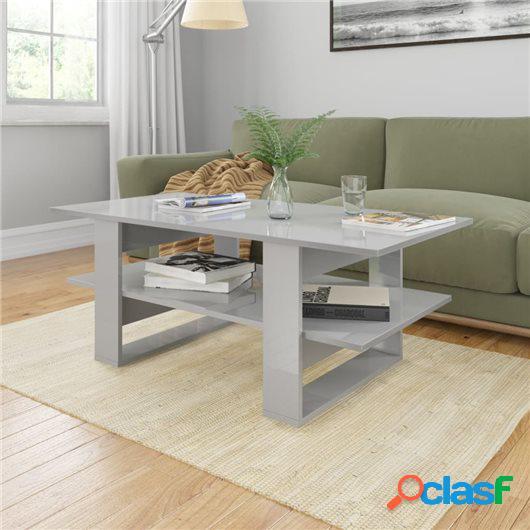 Mesa de centro de aglomerado gris con brillo 110x55x42 cm