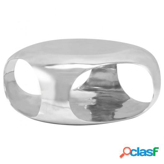 Mesa de centro de aluminio fundido 70x70x32 cm plateado