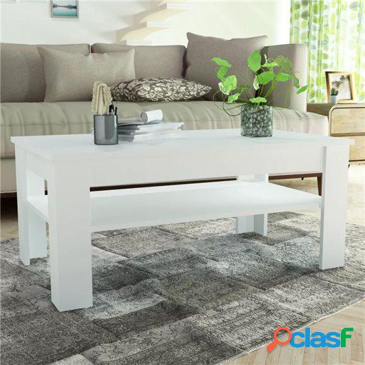 Mesa de centro de madera aglomerada 110x65x48 cm blanca