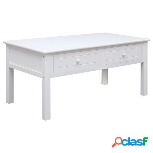 Mesa de centro de madera blanca 100x50x45 cm
