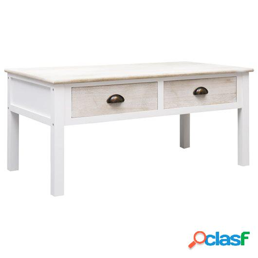 Mesa de centro de madera blanco y natural 100x50x45 cm
