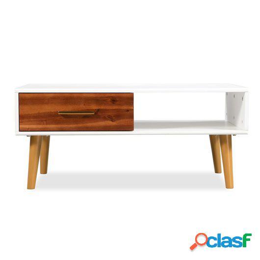 Mesa de centro de madera de acacia maciza 90x50x40 cm