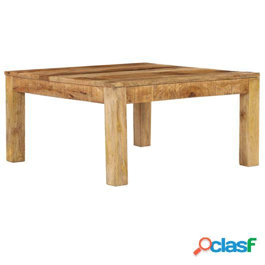Mesa de centro de madera de mango maciza 80x80x40 cm