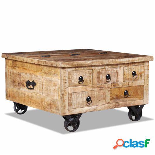 Mesa de centro de madera de mango rugosa 70x70x40 cm