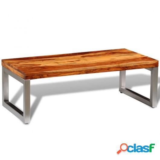 Mesa de centro de madera de sheesham maciza y patas de acero