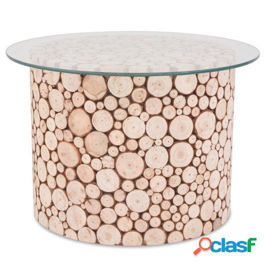 Mesa de centro de madera genuina 60,5x40 cm