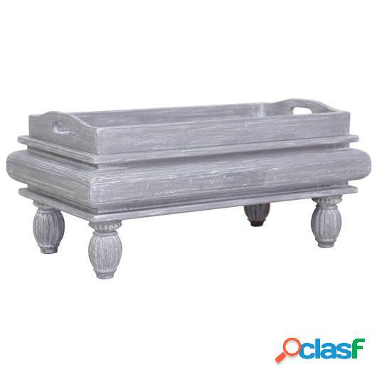 Mesa de centro de madera maciza de caoba gris 90x50x40 cm