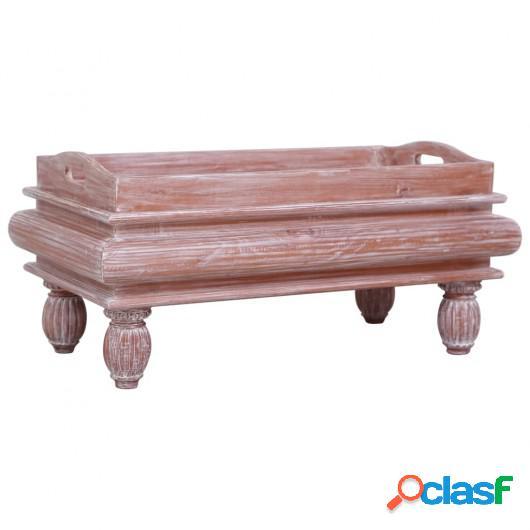 Mesa de centro de madera maciza de caoba marrón 90x50x40 cm