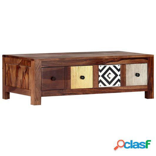 Mesa de centro de madera maciza de sheesham 90x50x30 cm