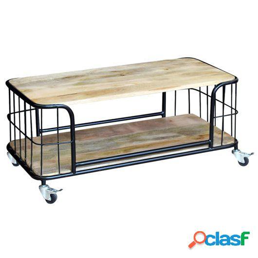 Mesa de centro de madera maciza reciclada 100x50x35 cm