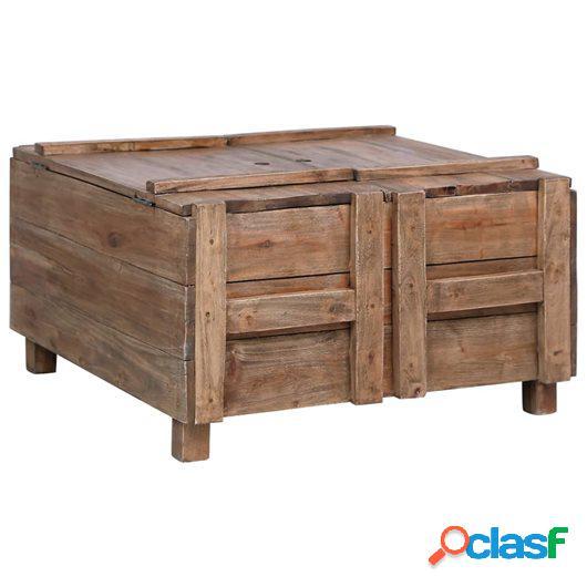 Mesa de centro de madera maciza reciclada 65x65x38 cm