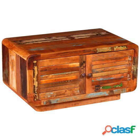 Mesa de centro de madera maciza reciclada 80x50x40 cm
