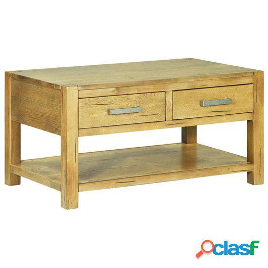 Mesa de centro de madera rústica de roble 90x55x47 cm