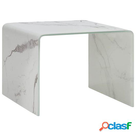 Mesa de centro de vidrio templado blanco mármol 50x50x45 cm