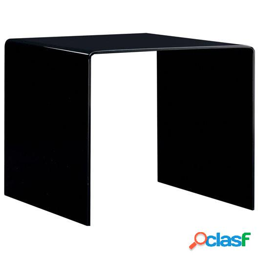 Mesa de centro de vidrio templado negro 50x50x45 cm