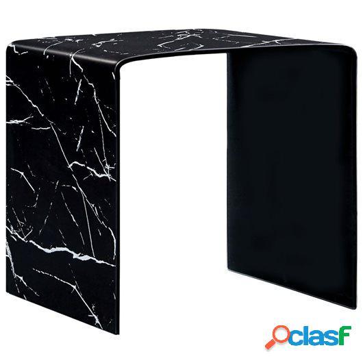 Mesa de centro de vidrio templado negro mármol 50x50x45 cm