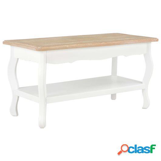 Mesa de centro madera maciza de pino marrón blanco