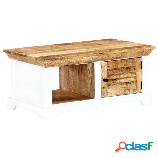 Mesa de centro madera mango rugosa blanco y marrón 90x50x40