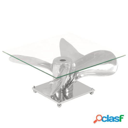 Mesa de centro plateada 60x60x30 cm aluminio y cristal