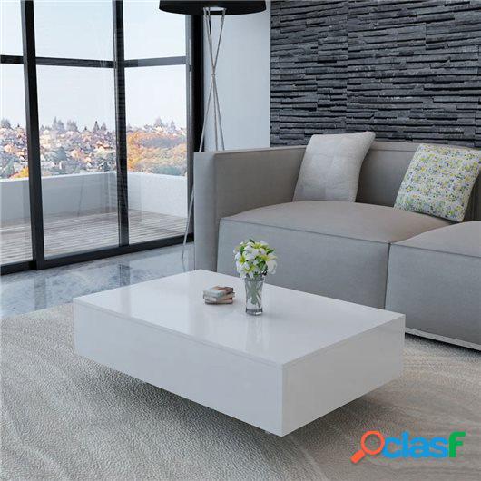 Mesa de centro rectangular blanco con brillo