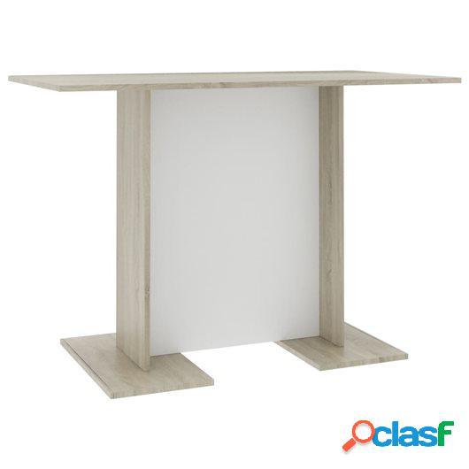 Mesa de comedor aglomerado blanco y roble Sonoma 110x60x75
