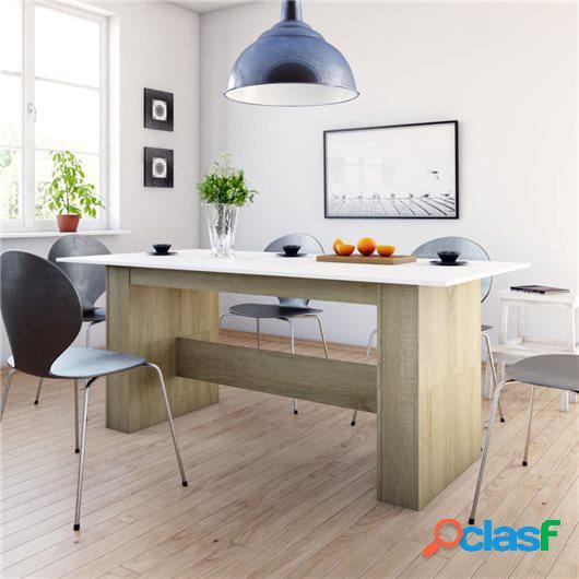 Mesa de comedor aglomerado blanco y roble Sonoma 180x90x76