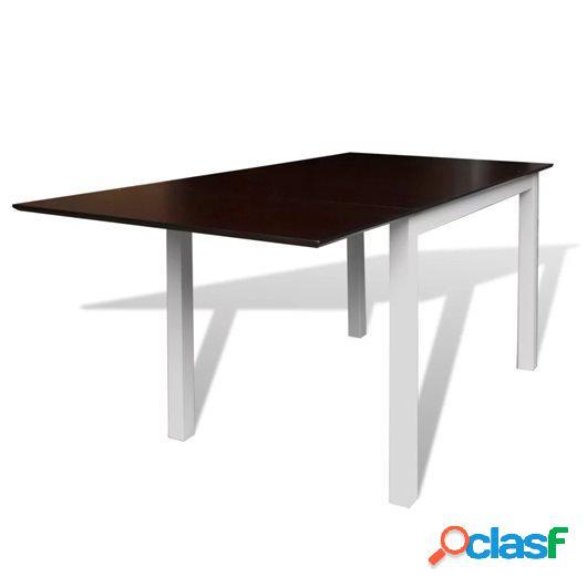 Mesa de comedor ampliable madera de caucho marrón blanca