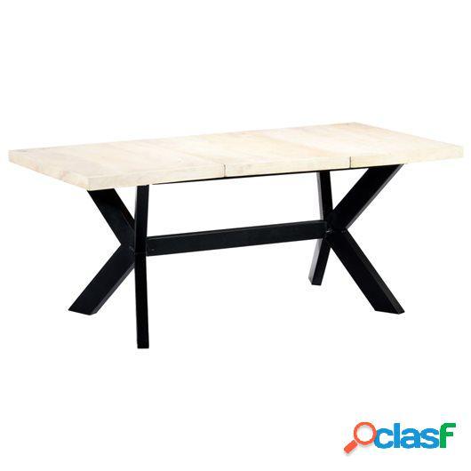 Mesa de comedor blanca 180x90x75 cm madera maciza de mango