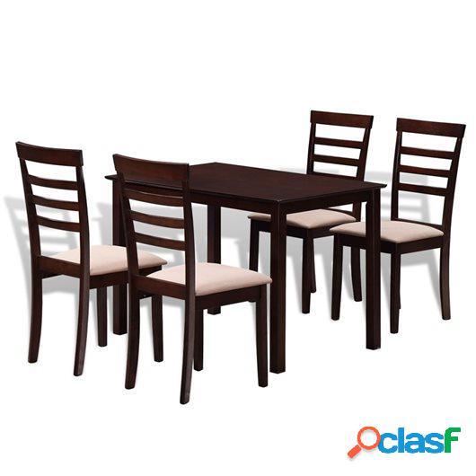 Mesa de comedor con 4 sillas de madera maciza marrón y