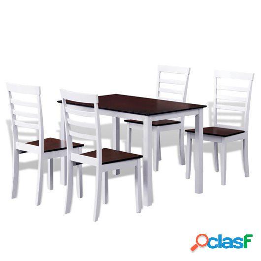 Mesa de comedor con 4 sillas madera maciza blanco y marrón
