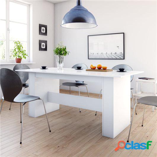 Mesa de comedor de aglomerado blanco con brillo 180x90x76 cm