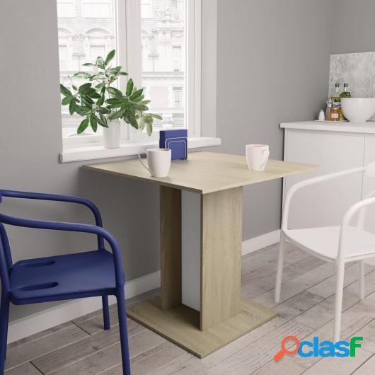 Mesa de comedor de aglomerado blanco y roble Sonoma 80x80x75