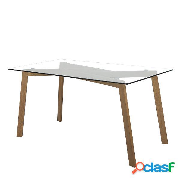 Mesa de comedor de cristal con patas metálicas 150x80x76cm