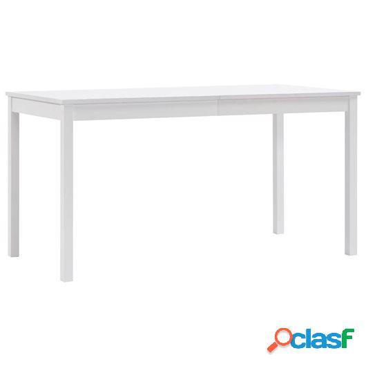 Mesa de comedor de madera de pino blanco 140x90x73 cm