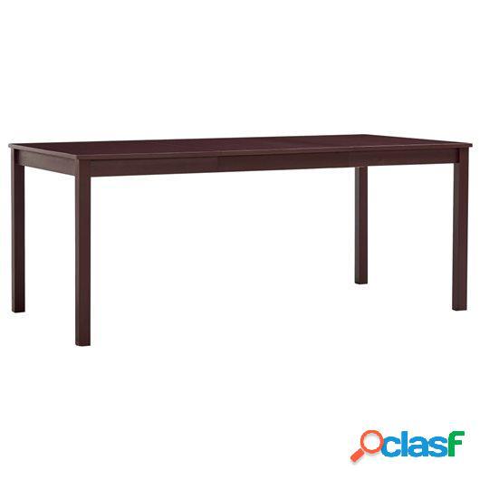 Mesa de comedor de madera de pino marrón oscuro 180x90x73