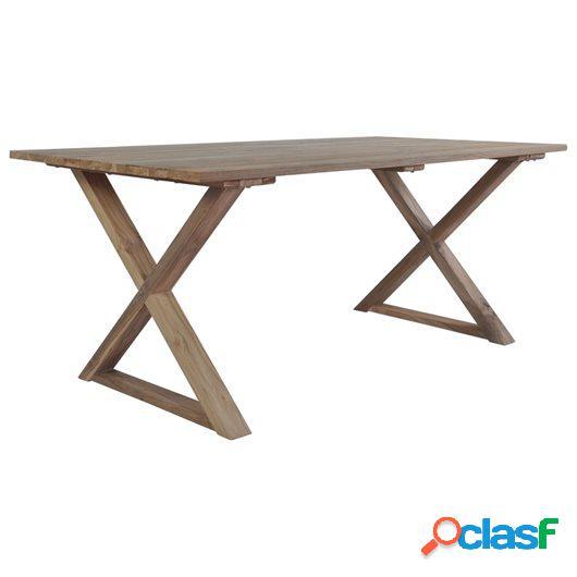 Mesa de comedor de madera maciza de teca reciclada 180x90x76