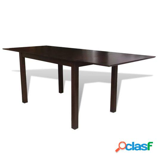 Mesa de comedor extensible de madera de caucho marrón 190