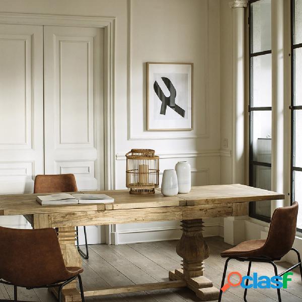 Mesa de comedor extensible de madera de olmo