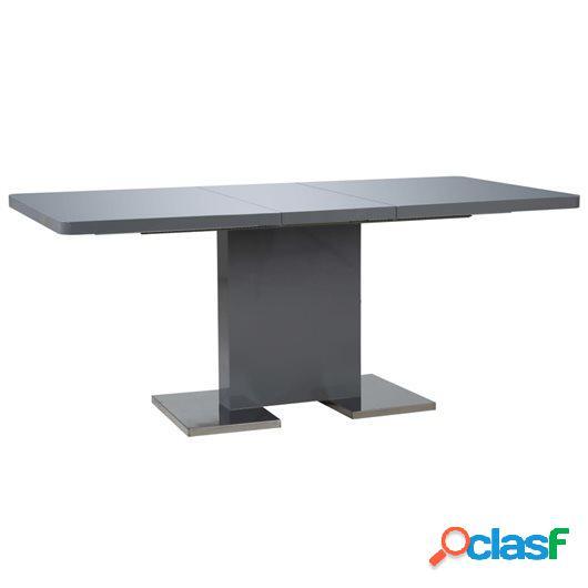 Mesa de comedor extensible gris brillante 180x90x76 cm MDF
