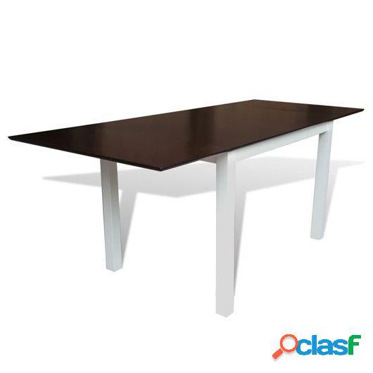Mesa de comedor extensible madera de caucho marrón y blanca