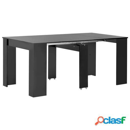 Mesa de comedor extensible negro brillante 175x90x75 cm