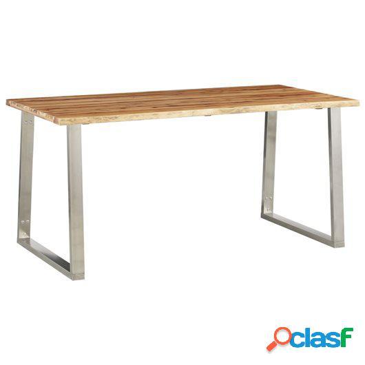 Mesa de comedor madera de acacia y acero inoxidable