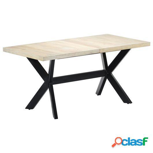Mesa de comedor madera maciza de mango blanco 160x80x75 cm