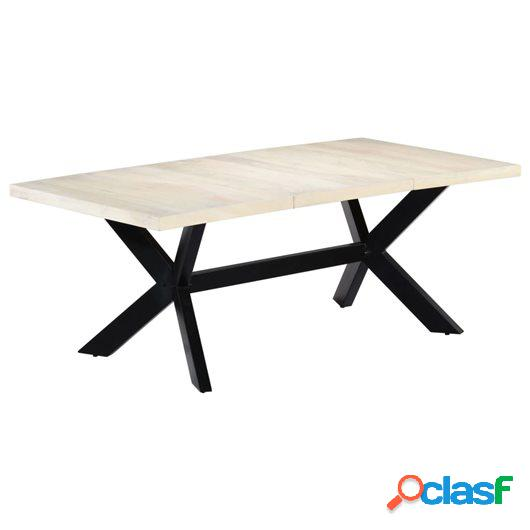 Mesa de comedor madera maciza de mango blanco 200x100x75 cm
